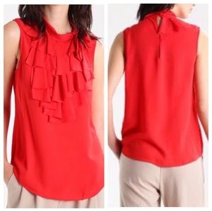 Banana Republic | Cherry Red Ruffle Sleeveless Top